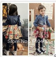 5pc/lot 2014 NEW spring&autumn baby girls denim-flower printing patchworked dress children spring autumn long sleeve dresses