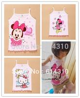 2pcs/lot summer child cartoon vest girls clothing children tank