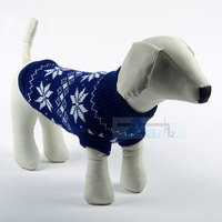 2 Color Dog Coat  Multi-color Aran Knit Dog Clothes Soft Cozy Pet blue Sweater D7-F