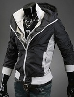 Free shipping mens jacket and coats casual men clothing outdoor jacket with hood fake double collar slim splicing color coat