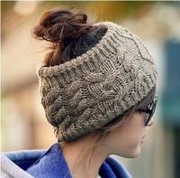 2014 new fashion handmade braid winter wool knitting hat elastic hairbands hairband hair accessories