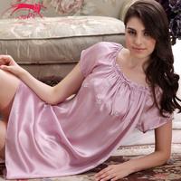 Cat mulberry silk sleepwear women's silk nightgown lounge