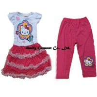Wholesale 2014 New Design Baby & Girl Summer Short Sleeve HelloKitty Set Girls Dress + Leggings 2 - Piece set of Fashion Set