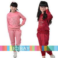 2014 New Baby Girls Clothing Sets Little Bear Pattern Hoodies + Long Pants,Girl Fashion  Autumn Sets  K4501