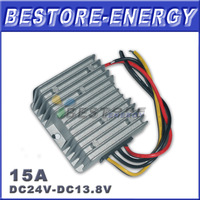 Free Shipping 10pcs/lot DC to DC Converter 24V to 13.8V 15A Waterproof Car Power Converter