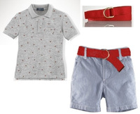 New design brand name polo children's boys gray t shirt +cowboys shorts +red belt 3 pcs set summer fashion kids casual suit