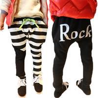 New Design Fleece Lining Warm Winter Harem Pants Kids Patchwork Lovely Stripe Faux Fur Girls Boys Trousers Free shipping