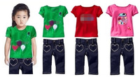 New brand name children's clothing summer fashion kids casual clothes suit baby girls cotton short sleeve t-shirt jeans 2pcs set