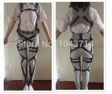 Anime Cos Cosplay Attack on Titan Shingeki no Kyojin Recon Corps Harness belt hookshot Costume 2015 Comic Con Free Shippi