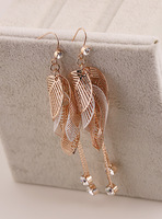Fall in love leaf earrings exquisite rhinestone belt tassel earring