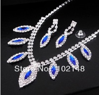 Free Shipping!! Bridal  jewelry set  wedding accessories silver plated rhinestone necklace+ earring  without crown