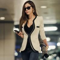 2014 New Fashion Winter Women Slim Blazer Coat Casual Jackets Long Sleeve V-Neck Black White One Button Suit OL Outerwear WF-229