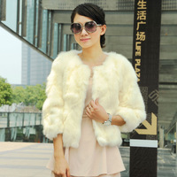 2013 autumn and winter women rex rabbit hair fur coat short sleeve slim wrist-length design