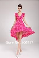 2014 Hot New Women's Fruit Flower Ripe Peaches Tank Dress Ruffled Pleated Sleeve Chiffon One-Piece Dress + Free Shipping