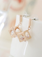 Fall in love high quality fashion magic cube crystal earrings