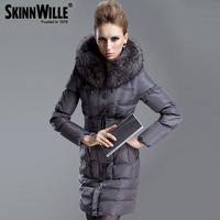 Free Shipping 2014 Fashion Large Fur Collar Down Jacket Thickening Slim Medium-Long Down Coat Female 7222