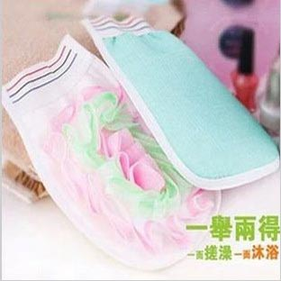 Double faced thickening bathsite belt scrubbing gloves bubble bath flower small cloth(China (Mainland))