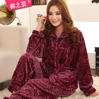 2014 New arrived Plus size women's thickening flannel sleepwear long-sleeve set coral fleece lounge xxxl  Free shipping