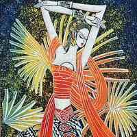 Natural plant batik paintings decoration hornier waxprinting