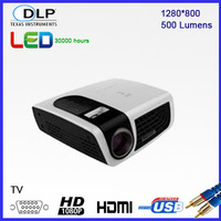 Luxcine C5 Mini Led Projector with HDMI,AV,USB,VGA,TF,TV,,LED Lamp,1280*800 1080P for Home Theater and Business