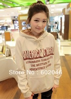 2014 Hot cheap free shipping fashion casual hooded graffiti letters thick fleece sweater wholesale