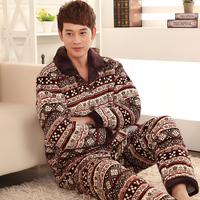 Autumn and winter cotton-padded jacket male coral fleece cotton-padded sleepwear thickening male plus size sleepwear lounge set