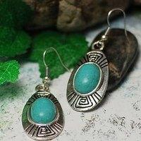 Tibetan jewelry vintage natural turquoise earrings