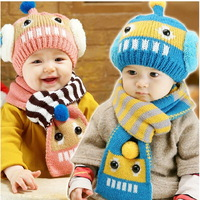Winter baby warm hat children scarf robot baby hat sets twinset