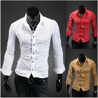 Free Shipping 2014 New Fashion Casual slim fit long-sleeved men's dress shirts Korean Leisure styles cotton shirt M-XXL  ZL134