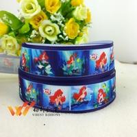 "Free shipping 50 yards 7/8""(22MM)mermaid ribbon printed grosgrain ribbon purple color 46600-XW-798-022"