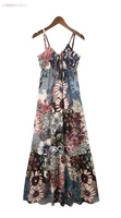 2013 new summer Flower Print Bohemian dress beach braces vesrtido