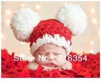 Hand Made Super Big Ball Hat Xmas Santa Hand Knitting Photography Prop New Born Baby Hat  Photo Prop Crochet Body Cap
