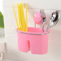 Free Shipping! Kitchen Shelves With Suction Cup Plastic Storage Holders Racks For Chopsticks And Spoon