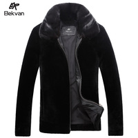 Bekvan mink turn-down collar business casual cashmere fur one piece male short design genuine leather clothing 2599