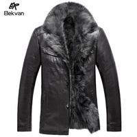 Bekvan super soft fur collar liner fur male medium-long fur one piece leather clothing 2640