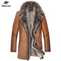 Bekvan large fur collar cashmere liner medium-long male fur one piece genuine leather clothing 2565