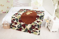 Bape cartoon blanket coral fleece blanket eco-friendly Camouflage thickening breathable