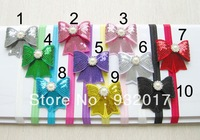 nEW Free Shipping Infant baby Kids girls stripe bow with elastic headband. baby headband ,hair bow