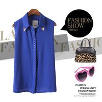 Free Shipping Fashion Summer 2013 women's metal rivet slim sleeveless chiffon shirt female casual shirt