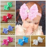 Free Shipping Infant baby Kids girls rose bow with elastic headband. baby headband ,haiir bow