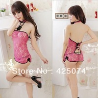 Free Shipping 5 pcs Pink Lace Sexy Lingerie Sleep Dress Sleepwear Nightwear + G-string