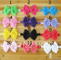 Free Shipping Infant baby Kids girls rose bow with elastic headband. baby headband ,haiir bow