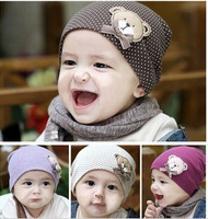 2013 spring and autumn infant boy hat dot baby bear baby pocket hat
