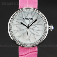 Lovely Women Girl Snow Shell Dial Pink Leather Band Sport Quartz Wrist Watch Gift Q801