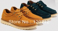 The new 2013 british style sports shoes sneakers men's flats Khaki blue genuine leather shoe size 39-44