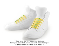 Novelty household Fashion color silicone lace shoelaces shoelace round flat beam