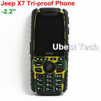 "X7 Shockproof Dustproof Waterproof GSM Phone 2.2"" Unlocked Military Mobile Phone Dual Sim FM Bluetooth Russian Keyboard"