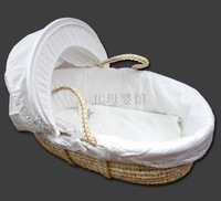 Free shipping John lewis baby moses basket kit cradle white corn husk 6 piece set
