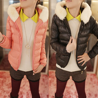 2013 trend slim fur collar with a hood zipper solid color wadded jacket small cotton-padded jacket short jacket cotton-padded
