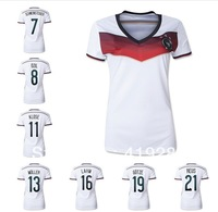 Free shipping top thai quality lady soccer uniforms LAHM REUS SCHWEINSTEIGER germany womens soccer jersey football cup 2014